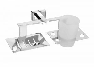 Stainless-Steel-AISI-304-Chrome-Plated-Soap-Dish-With-Tumbler-Holder-SD-310