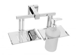 Stainless-Steel-AISI-304-Chrome-Plated-Soap-Dish-with-Liquid-Dispenser-SG-711