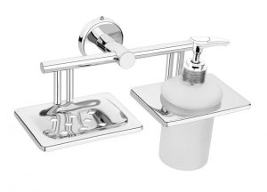 Stainless-Steel-AISI-304-Chrome-Plated-Soap-Dish-with-Liquid-Dispenser-SM-511