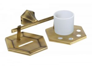 Brass-Antique-Finish-Soap-Dish-With-Tumbler-Holder-PT-413