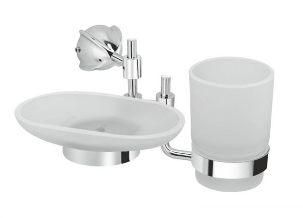 Brass-Chrome-Plated-Soap-Dish-With-Tumbler-Holder-PU-613