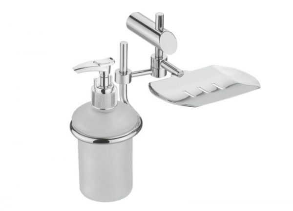Stainless-Steel-AISI-304-Grade-Chrome-Plated-Soap-Dish-with-Liquid-Dispenser-PO-715