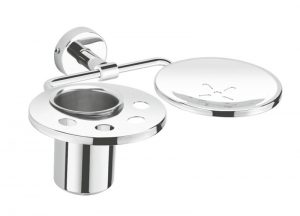 Stainless-Steel-Chrome-Plated-AISI-304-Grade-Soap-Dish-With-Tumbler-Holder-PR-113
